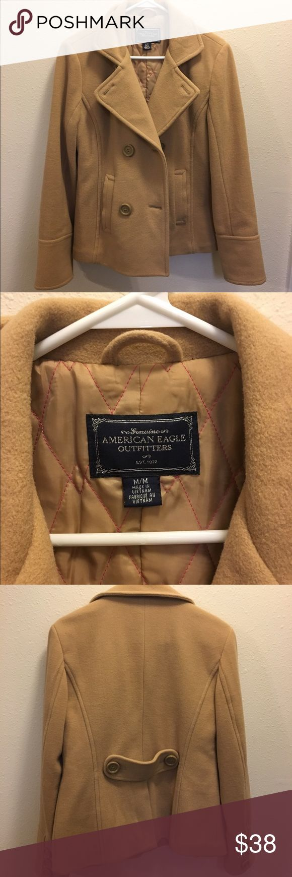 American Eagle peacoat American Eagle tan peacoat, sized medium. Great condition!! No signs of wear. American Eagle Outfitters Jackets & Coats Pea Coats