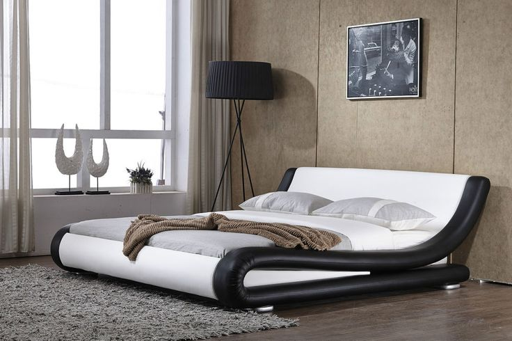 Prato Italian Modern Designer Double King Size Faux Leather Bed +Memory Mattress