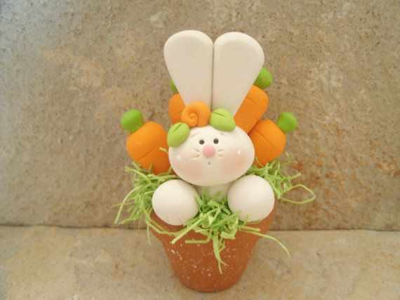 Easter Bunny Chick and Basket of Eggs by countrycupboardclay