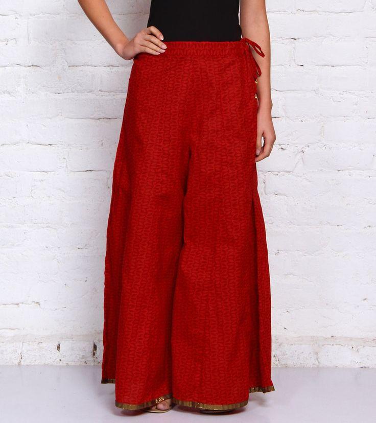 Red Printed Cotton Sharara #indianroots #fusionwear #sharara #cotton #printed #summerwear #casualwear