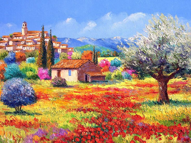 France Country Landscape - Jean Marc Janiaczyk Landscape Painting with palette knife 1600*1200 NO.3 Wallpaper