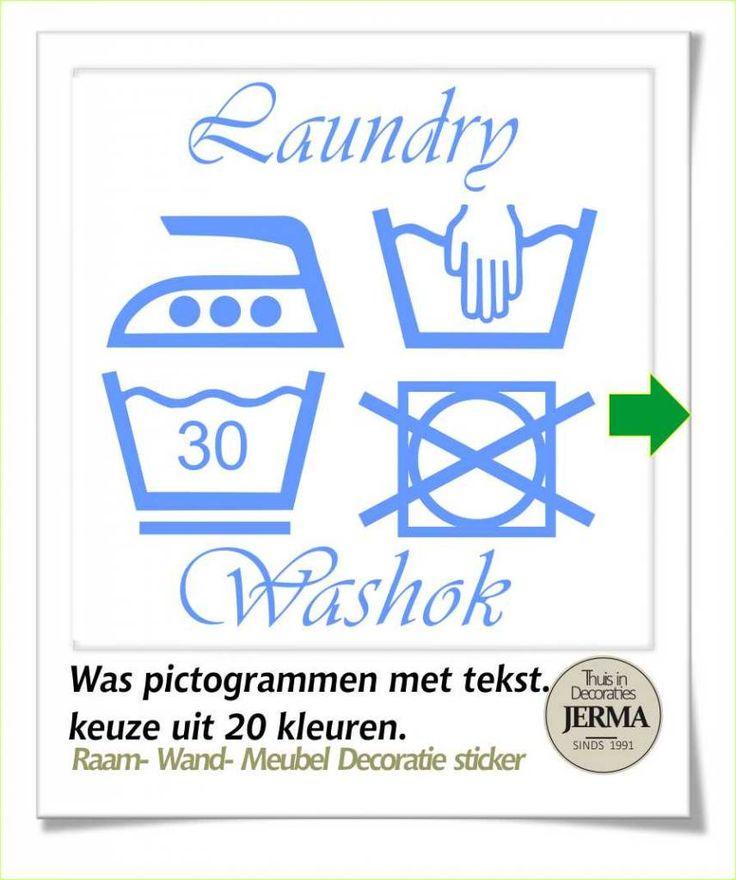 Raam-, Wand decoratiesticker wassymbolen sticker washok Laudry / washok tekst met pictogram wasgoed etiketjes