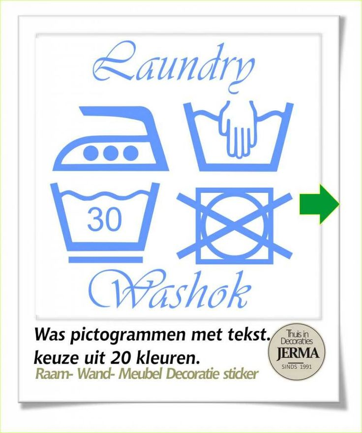 Raam-, Wand decoratiesticker wassymbolen sticker washok Laudry / washok tekst met pictogram wasgoed etiketjes