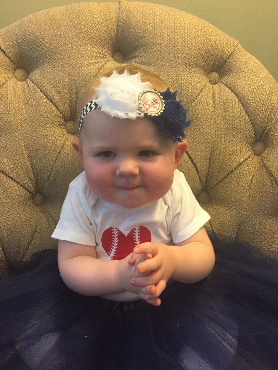 New York Yankees baby headband  Yankees baby by LadybugHeadbands