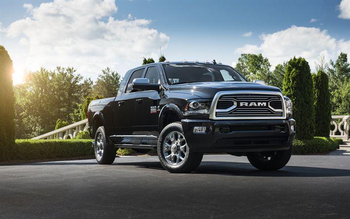 Hämta bilder Dodge Ram 2500, 2018, Svart pickup lastbil, Amerikanska bilar, Begränsad Volfram Edition, Dodge