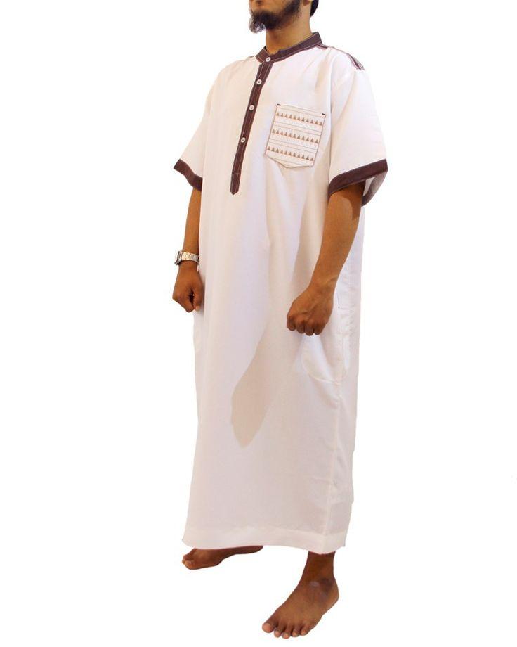 Jubah Muslim Pria Marocco Gamis Pria lengan pendek Kerah Shanghai-Jubah Samase-Putih Coklat