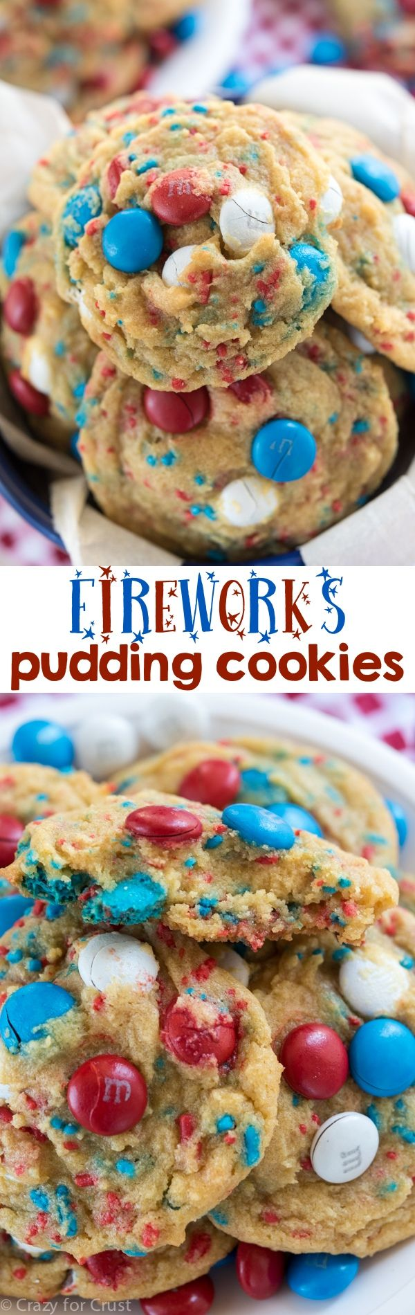 Fireworks Pudding Cookies - an easy brown sugar pudding cookie full of red, white, and blue! Perfect cookie recipe for the 4th of July.
