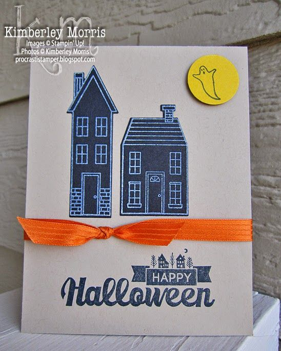 halloween street houses card an idea inspired by another demonstrator this card is quick - Stampin Up Halloween Ideas