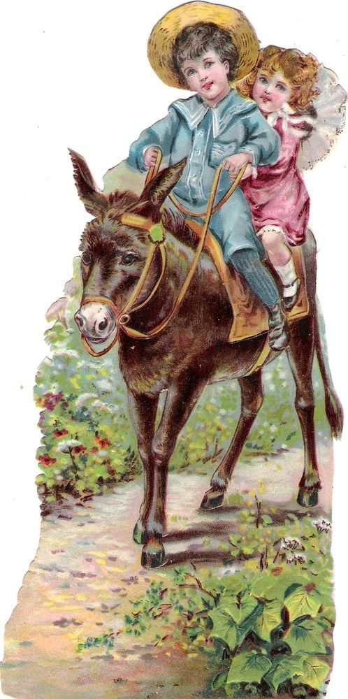 Oblaten Glanzbild scrap die cut chromo Kind Esel  21cm  child enfant donkey