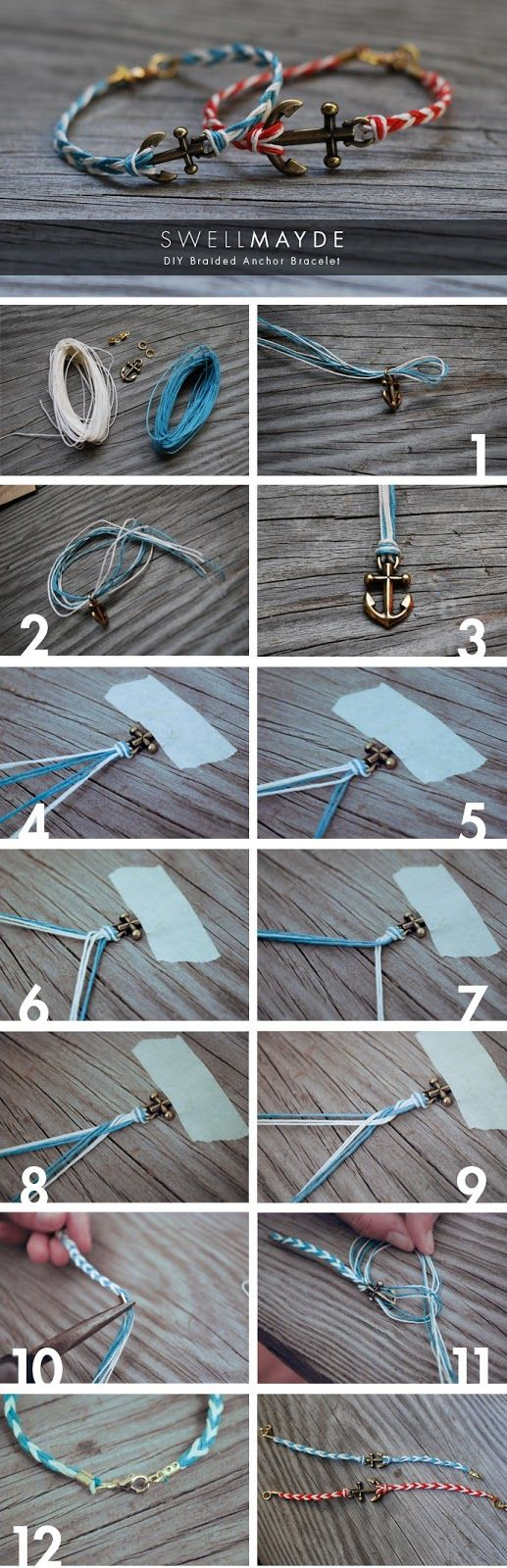 BRACELETS OF ANCHOR Materials: - hemp cord in 2 colors - metal anchor - small jump rings - 2 metal cord tips - 1 lobster claw - pliers - scissors - masking tape