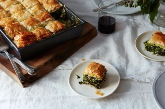 """Nelly's """"Greek Festival"""" Spanakopita Recipe on Food52 recipe on Food52. This is a real deal recipe for Spanakopita. I've never used cottage cheese before, but the added creaminess sounds inviting!"""