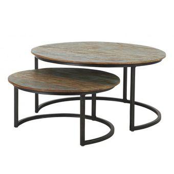 ronde salontafel zwart buizen stel, eenmaal blinkend bovenvlak (grootste), tweemaal mat bovenvlak= antraciet,verschillende hoogte