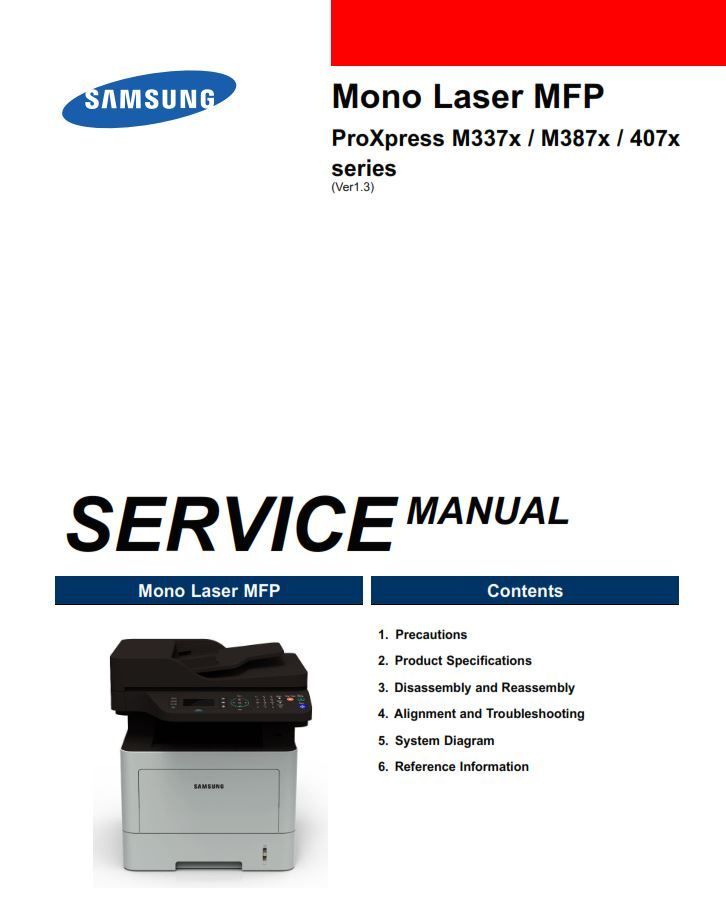 Samsung Proxpress M3370 M3375 M3870 M3875 M4070 M4072 M4075 Printer Service Manual Disassembly Printer Samsung