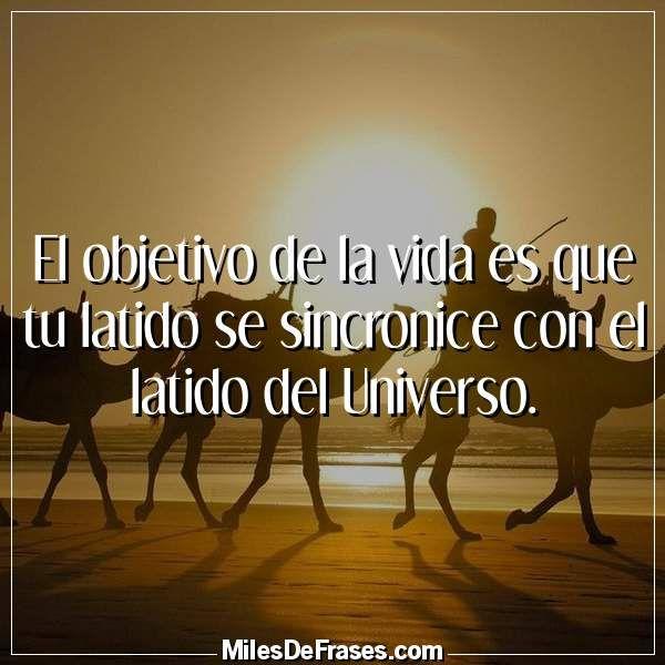 El objetivo de la vida es que tu latido se sincronice con el latido del Universo.