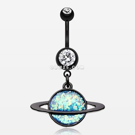 Blackline Opal Galaxy Planet Belly Button Ring