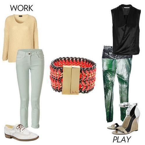Neon Tangerine & Black cuff bracelet | WITH Pastel Yellow cablenknit sweater, Lightwash Denim skinnies, White brogues | & | Black draped sleeveless blouse, Green palm print pants, Metallic wedges