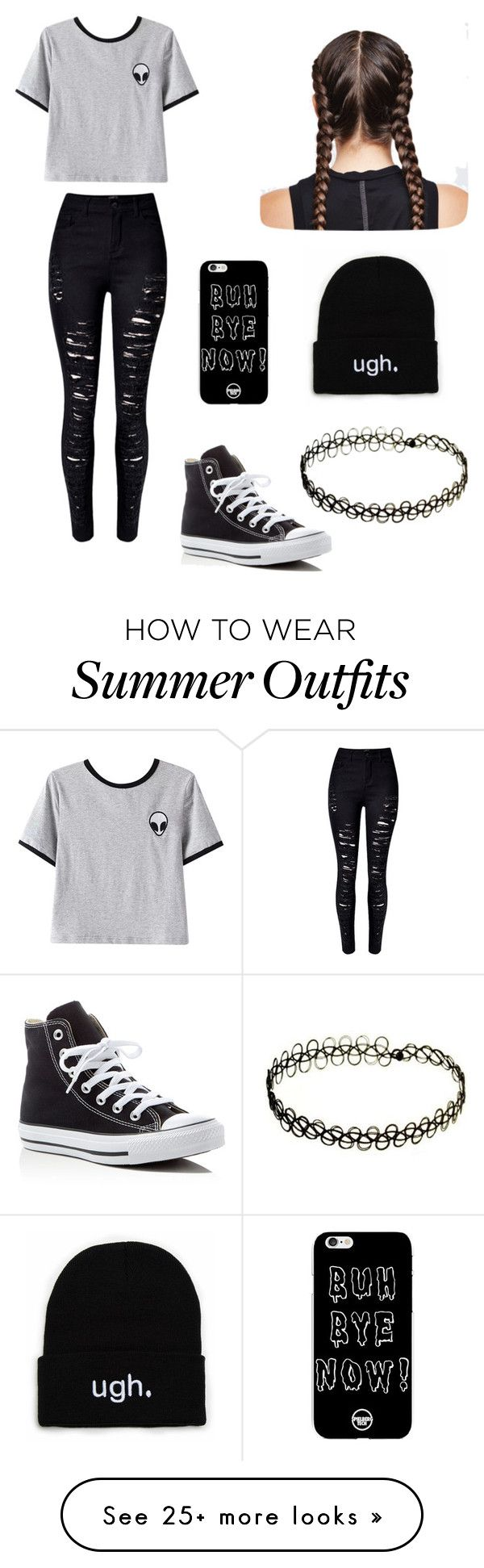 """Alien Outfit "" by sophiethefish on Polyvore featuring WithChic, Chicnova Fashion and Converse"