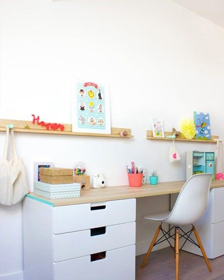 inspiration for custom built in long desk in that cut-out part of her room? include lots of storage and a long, large flat space