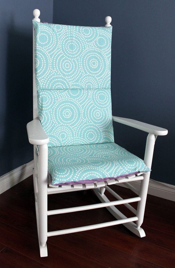 rocking chair cushion aqua blue spiral lavender polkadot