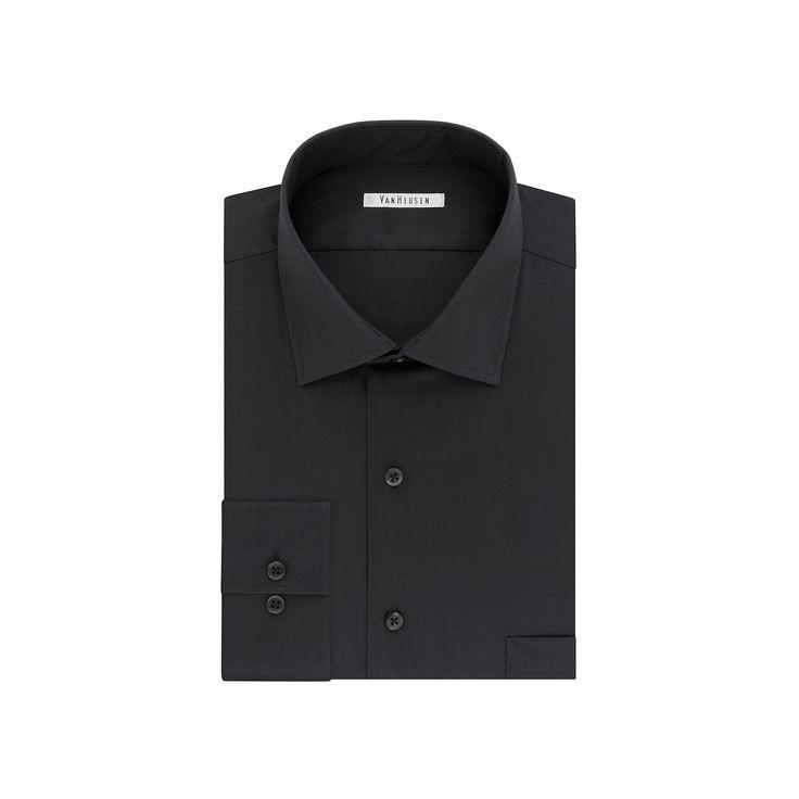 Men's Van Heusen Flex Collar Regular-Fit Dress Shirt, Size: 17.5 36/37, Grey (Charcoal)