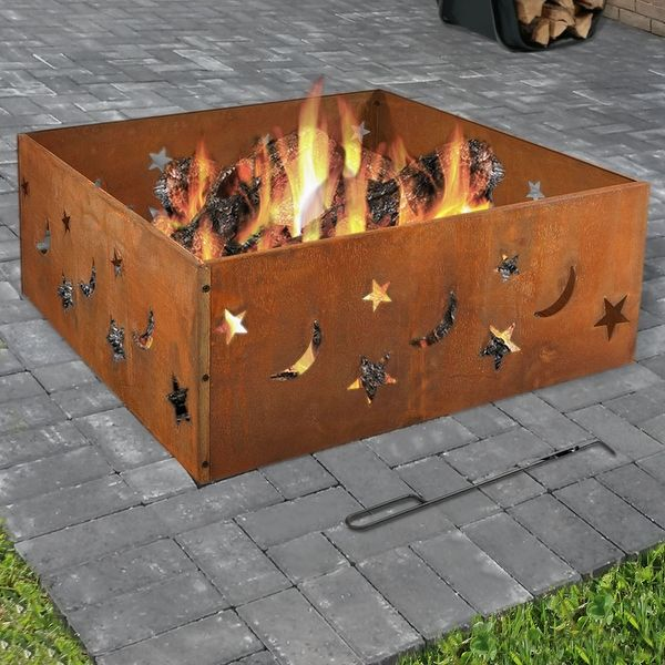 Sunnydaze Square Rustic Stars and Moons Fire Pit Ring, 30 Inch