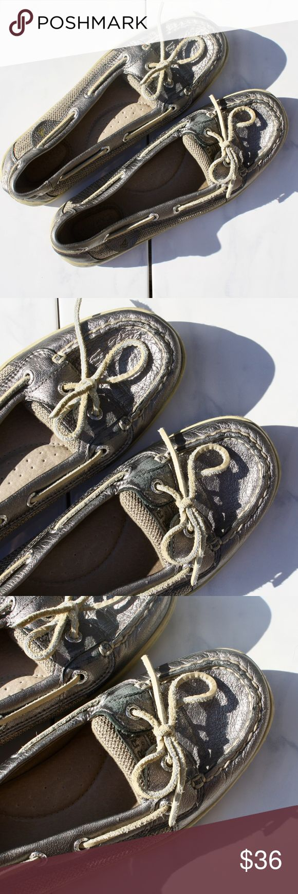 Sperry Angelfish Pewter Metallic boat shoe In good used condition. Sperry Shoes Flats & Loafers