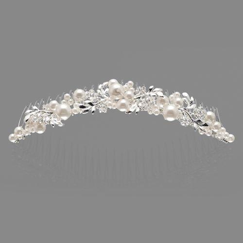 Kleines Diadem an Kamm mit Perlen & Strassblüten
