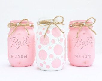 Set of 3 Handpainted and Distressed Ball Mason Jars, Baby shower, Baby Girl, Pink