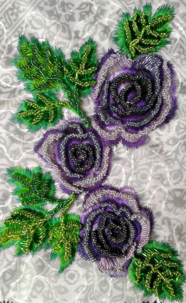roses beadwork, #hand embroidery