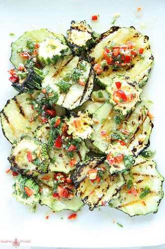 Grilled zucchini with chili and mint to truly impress your foodie friends. #designsponge #dssummerparty