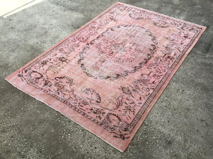 Soft Pink  Vintage TURKISH ANATOLIAN Overdyed Oushak Carpet RUG 8'4  x 5'6 by EclecticRug on Etsy