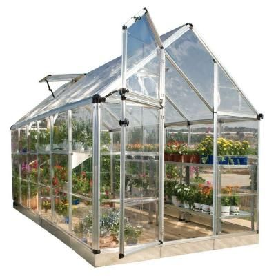 Palram Snap and Grow 6 ft. x 12 ft. Silver Polycarbonate Greenhouse