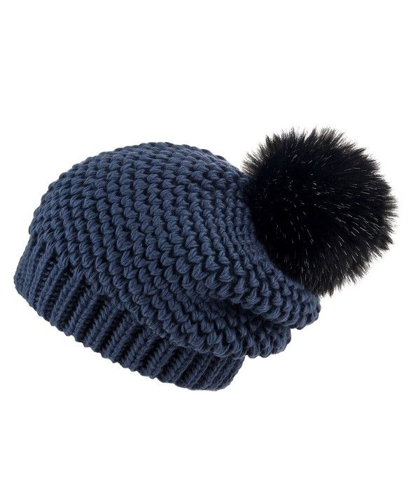 Women's Winter Slouchy Oversize Beanie Pom Pom Knit Hat Navy Blue Mole CI1887K6LOC – Hat & Caps Collection