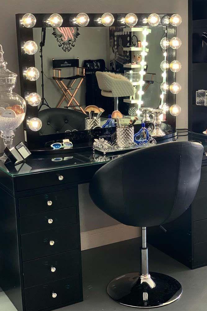 36 Most Popular Makeup Vanity Table Designs 2019 Hair Makeup Room Ideas Black Vitamine In 2020 Makeup Table Vanity Vanity Makeup Rooms Black Makeup Vanity