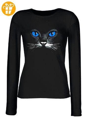 Wunderschönes Damen Langarmshirt, Longsleeve mit schwarzer Katze! Blue eyes black cat Top Geschenk! Größe M Farbe schwarz (*Partner-Link)