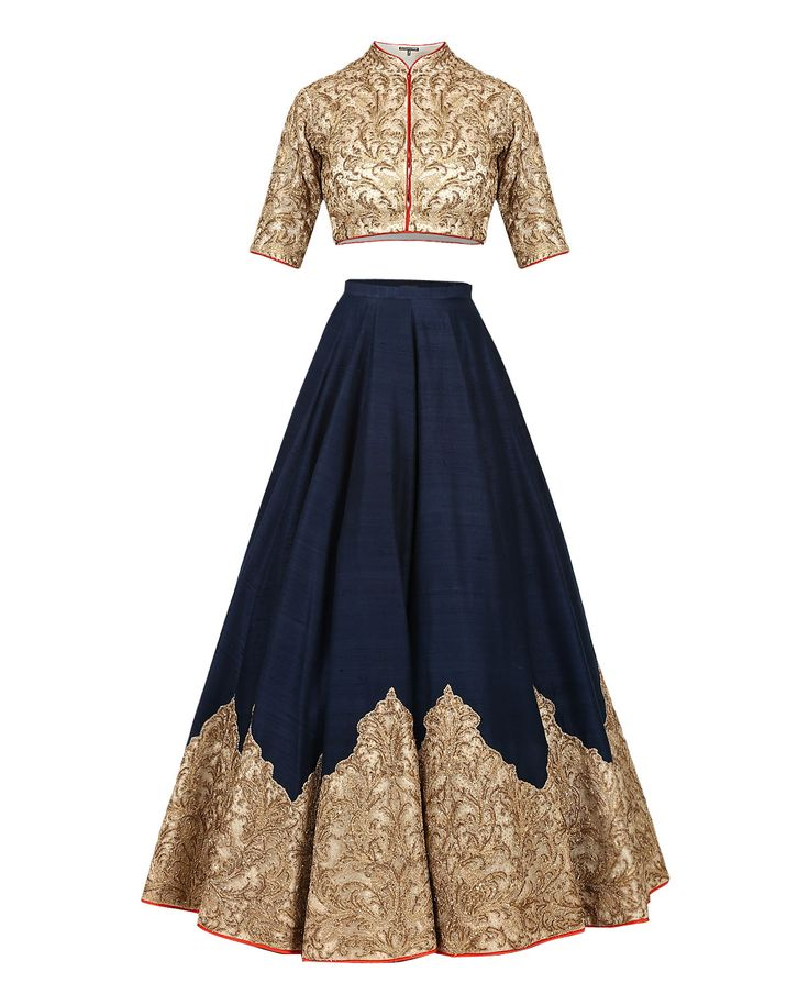 Anju Modi Dark Blue Lengha Set with Embroidered Motifs