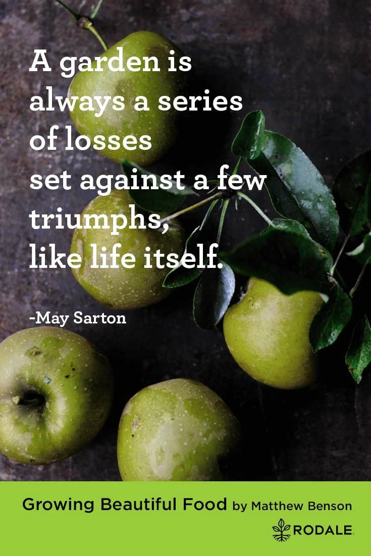 A garden is always a series of losses set against a few triumphs, like life itself. - May Sarton | Inspirational Quotes about Gardening