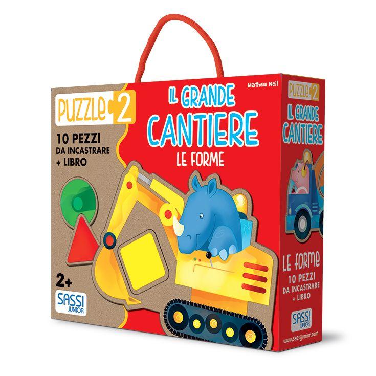 #Sassi Junior: Puzzle 2 - Il Grande Cantiere. Le Forme - 10 pezzi da incastrare + libretto di 10 pagine. #ecologia #libro #gioco
