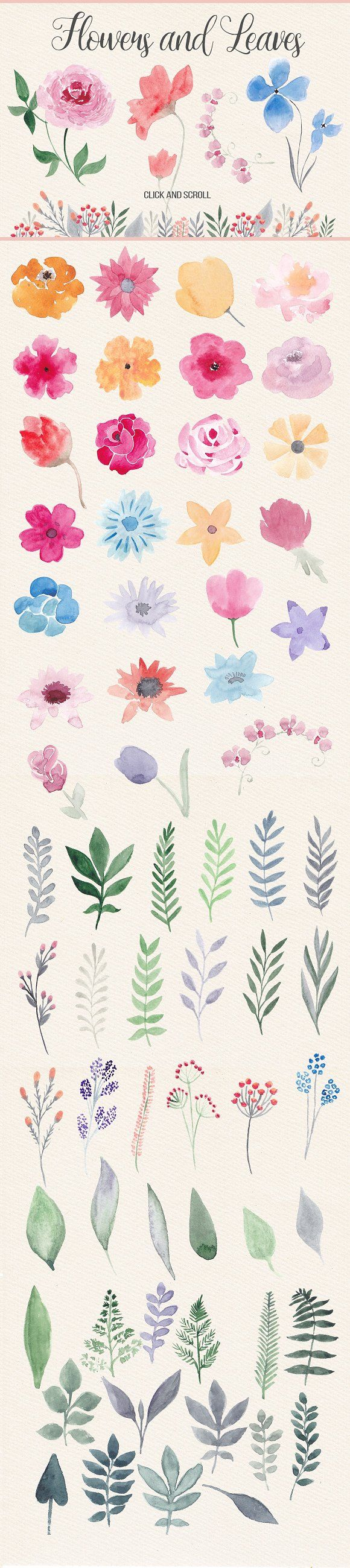 Watercolor book covers - Watercolor Design Kit Objects