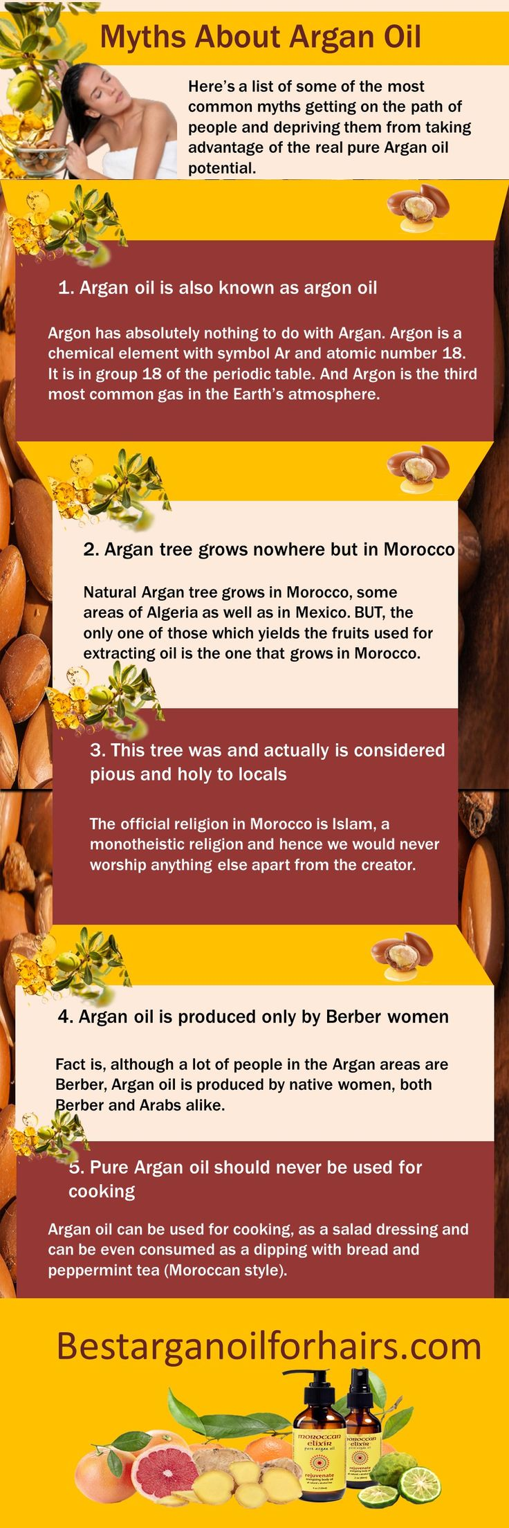 In this infographic, I have listed the myths about #Arganoil. Argan oil has so many advantages for our body. We can use argan oil for hair, face, teeth, cooking etc.