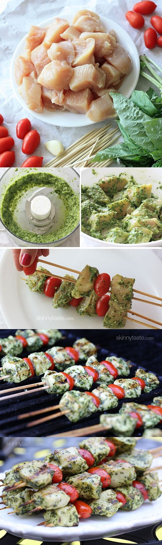 Grilled Pesto Chicken and Tomato Kebabs. Could work for an appetizer as well. + add mozzarella cheese bits