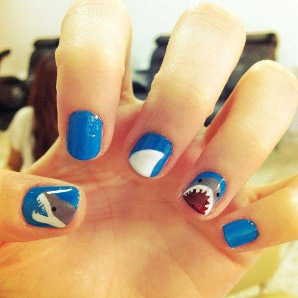 Holy crap. Shark week manicure!Sharks Weeks Nails, Nails Art, Nails Design, Beautiful, Sharks Manicures, Sharks Nails, Shark Week, Sharkweek, Nail Art
