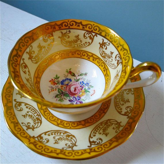 fit for royalty ...vintage royal albert golden yellow teacup and saucer ...