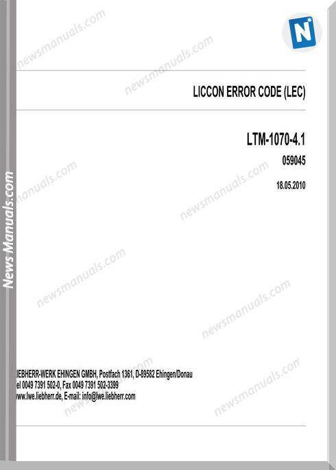 Liebherr Liccon Ltm 1070-4 1 Models Error Codes Manuals   Fault codes