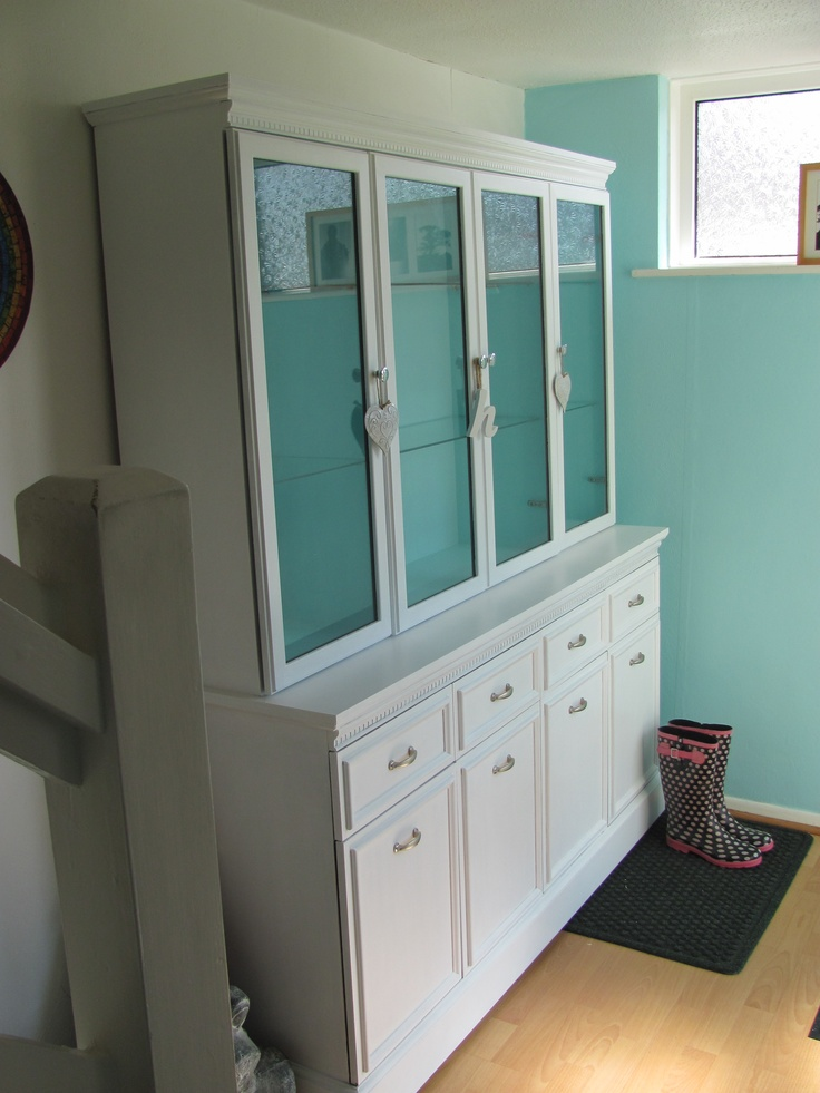 Perfect Old Dark Melamine Cabinet Iu0027d Had In The Hall For Years. Dulux Difficult  Surface Primer (two Coats) Then BnQ Water (Tiffany Box Colour If You Ask  Me!) ...
