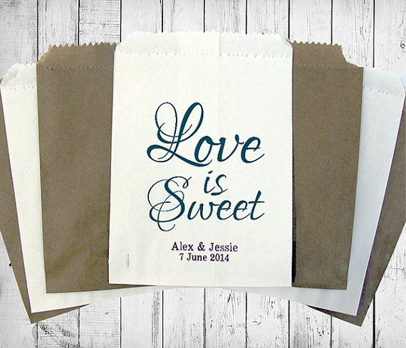 Personalised Sweet Bags LOVE IS SWEET wedding engagement
