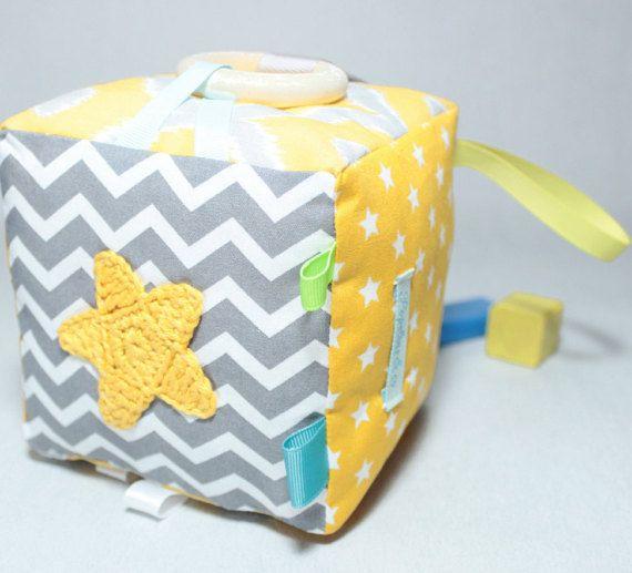 Fabric Baby Blocks Taggie Cube Sensory Toys Teething by PopelineCo