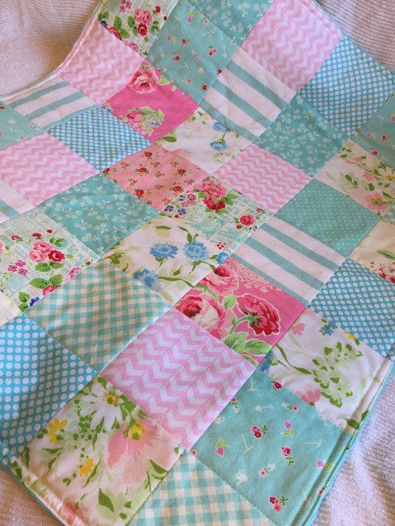 Modern Baby Girl Minky Quilt in Pink and Aqua, Pam Kitty Aqua, Baby Girl Gift, Photo Prop, Aqua Nursery, Ready to Ship