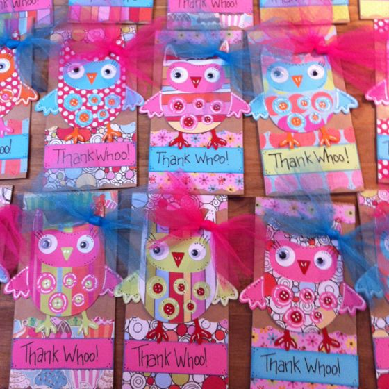 Owl party favor bags for nieces birthday party