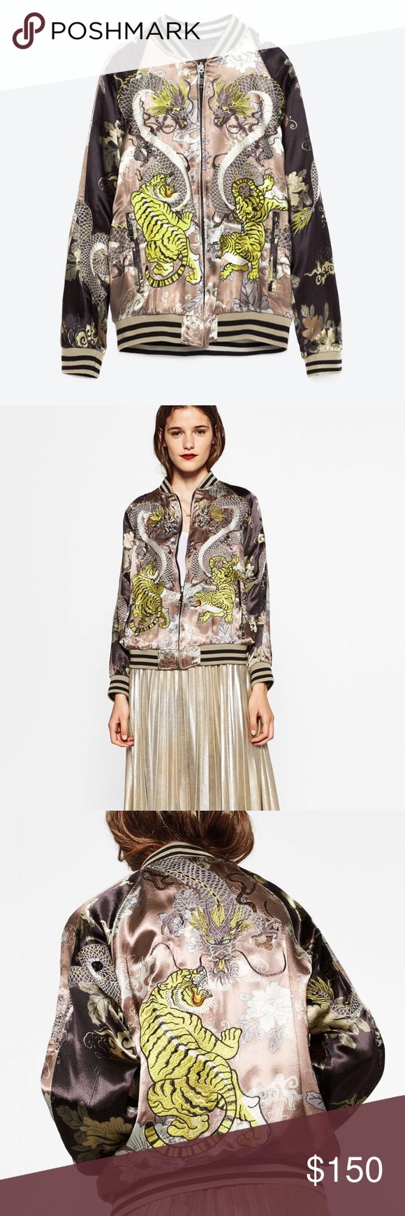 ZARA LIMITED EDITION EMBROIDERED BOMBER JACKET Brand new with tags, size small, embroidered and printed, reversible, cuffed sleeves, pockets in front. Zara Jackets & Coats